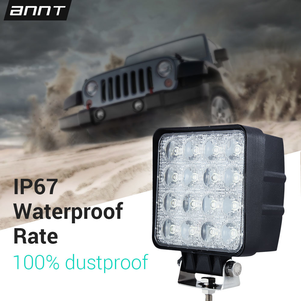 Shop For 48w 12v 24v Led Work Light Flood Off Road Truck Boat Suv Leds On Cars And Trucks 4x4 Lamp Square Ip67 At Wholesale Price