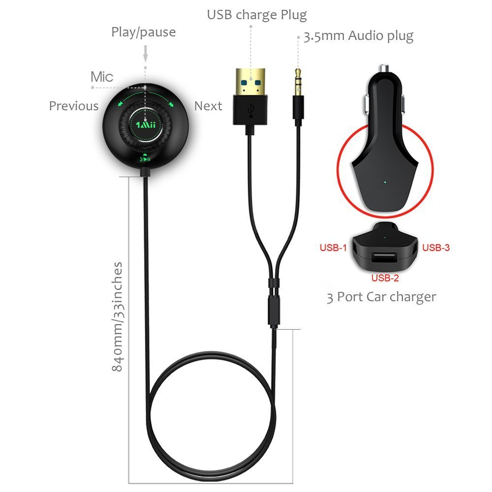 Shop For Bluetooth Car Kit Audio Receiver Wireless Music Adapter Strereo 35mm Talking 1mii Hands Free Streaming With Bulit In Mic