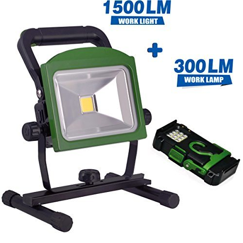 Bonashi 20w 1500lm Portable Led Work Light With Rechargeable Detachable 300lm Flashlight Cordless Battery Flood Lights 5000k With Car Charger