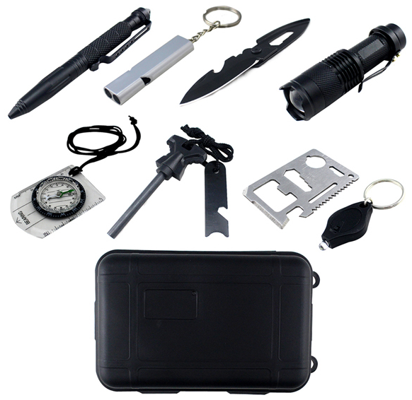 Emergency Survival Kit 13 in 1, Outdoor Survival Gear Tool with Survival  Bracelet, Compass, Fire Starter, Whistle for Camping, Hiking, Climbing 1