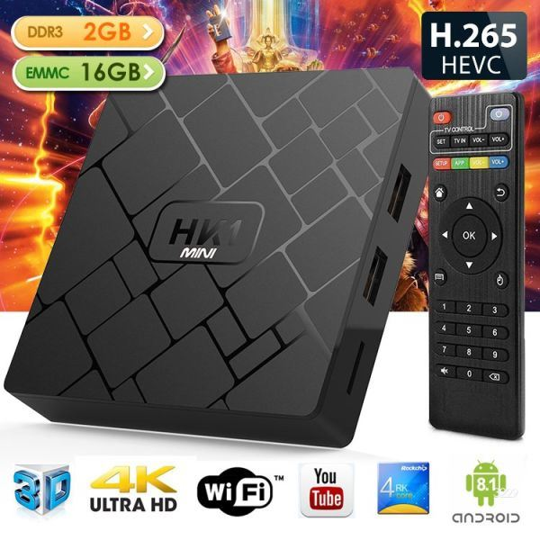 HK1 MINI Android TV Box RK3229 2GB 16GB Android 8 1 TV Box 2 4G WiFi KPlyer  18 0 4K IPTV Box 1 Unit / Box