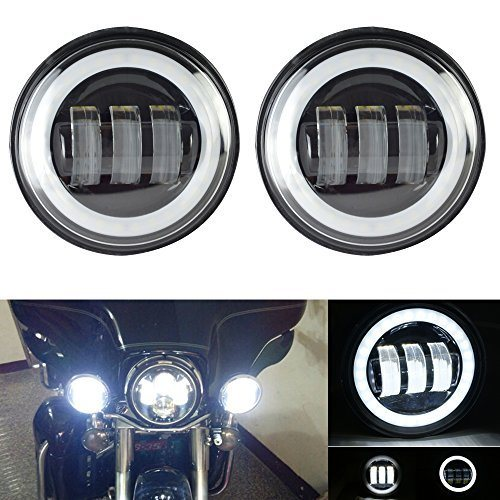 Street Glide and Electra Glide,Ultra Limited with 4-1//2 LED Passing Lamps Fog Lights and Bracket Mounting Ring Motorcycle 7 LED Headlight For Harley Davidson Road King Road Glide