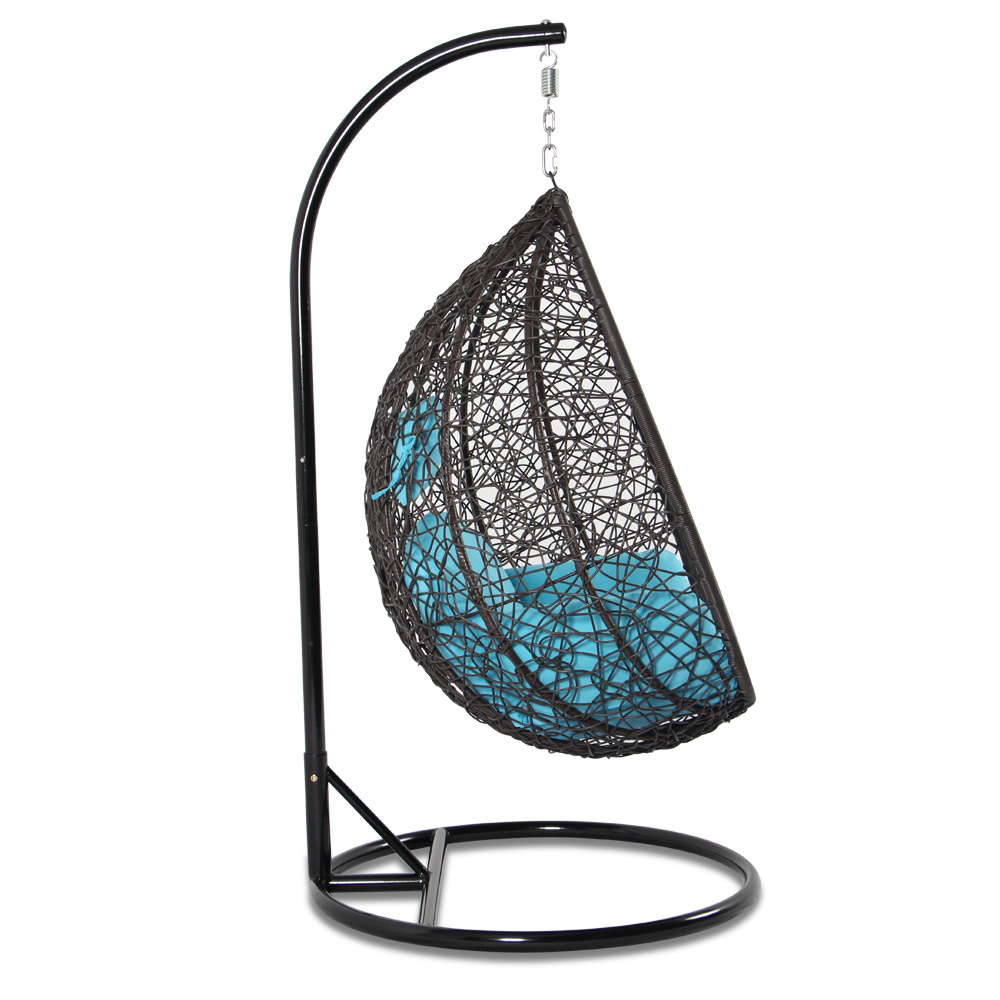 For Garden Outdoor Rattan Patio Hanging Swing Chair Egg Seat Blue Cushion At Whole On Crov Com