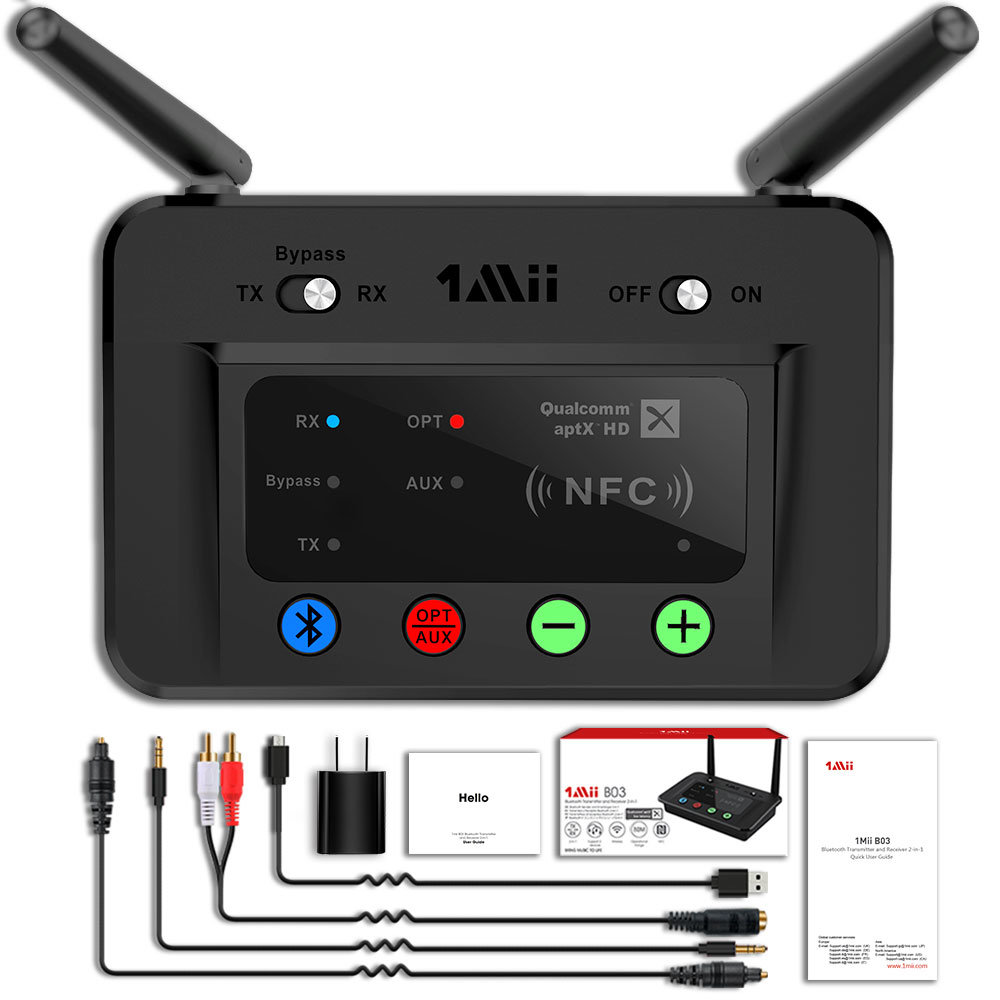 Shop For 1mii 230ft Long Range Bluetooth Transmitter Receiver Bluetooth Audio Adapter Wireless Transmitter Support Aptx Low Latency Nfc Digital Optical Rca Aux 3 5mm For Tv Pc Bluetooth Earphone Speaker At Wholesale