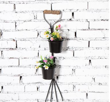 Shop for 2-Tier Hanging Plant Holder,Round Iron Can Planters