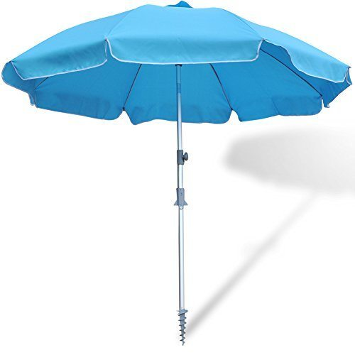 36d70e74f6 SNAIL 7 ft Beach Umbrella, Patio Umbrella W/ Tilt, Telescoping Pole, Screw  Sand Anchor, Blue 1 Unit / Carton