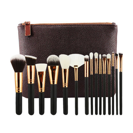 Hot Sale 15 PCS Luxury Complete Makeup Brush Set, Professional Rose Golden Make Up Brushes with Cosmetic Bag
