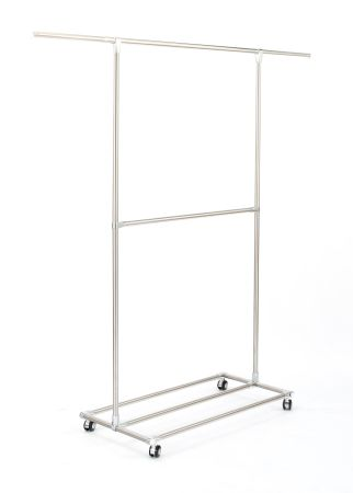 Double Rods Garment Rack Rolling Hanging Rack For Closet With Wheels
