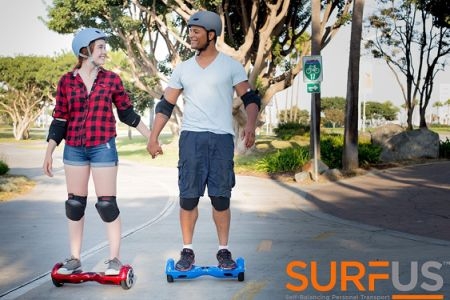 "SURFUS 6.5"" Waterproof Hoverboard with Buffing Shell UL 2272 Certified Self-Balancing Scooter with LED Lights, Blue"