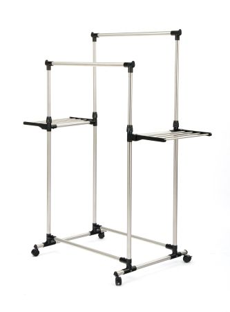 Double Rod Adjustable Rolling Clothes And Garment Rack With Wheels