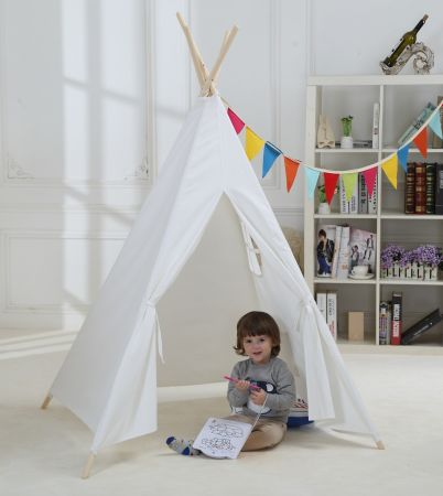 Kids Play House Tent Flax White Play Teepee Tent for Boys and Girls