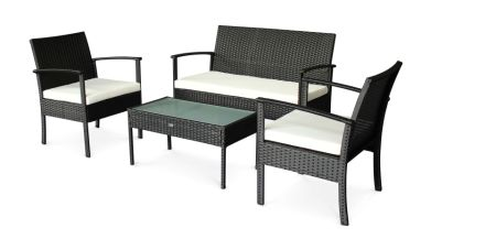 StellaHome Patio Garden Outdoor Rattan Wicker 4PC Sofa Set White Cushioned
