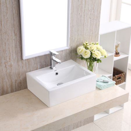 Changie Above Counter Rectangular Vanity Bathroom Ceramic Vessel Basin 6026w White 20 X 16