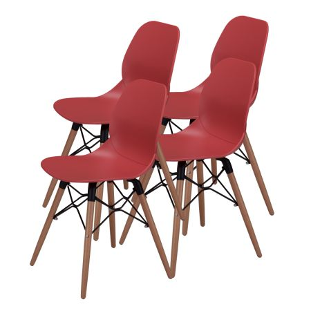 Mid Century Modern Dining Room Chairs   Eames Style DSW Side Chair With  Tufted Wooden Leg