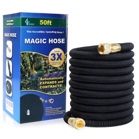 GLOUE 50FT Garden Hose, Solid Brass Connector, 2017 Upgrade Strongest Hose, Sealing Rings,Durable Latex Core and Strength Fabric Polyester for Cars Expandable Hose