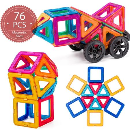 Magnet Tiles Building Block Cossy 76 Pcs Magnetic Stick And Stack Set For S
