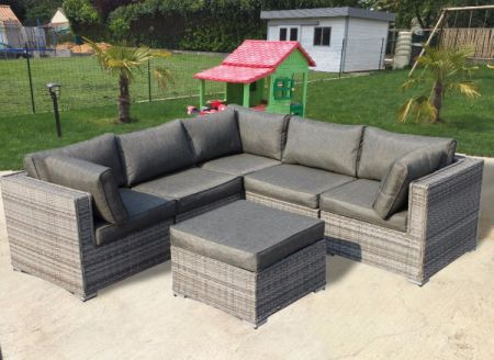 Outdoor Patio Furniture Rattan Wicker Sofa Corner Sectional Sets 6pcs Grey Cushioned No Embly With