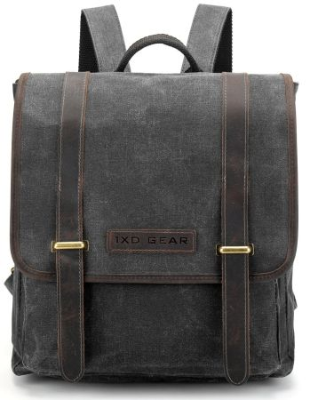 2fb7619944 Waxed Canvas and Leather Vintage Backpack College School Casual Unisex  Daypack Tablet Bag Fits laptop up