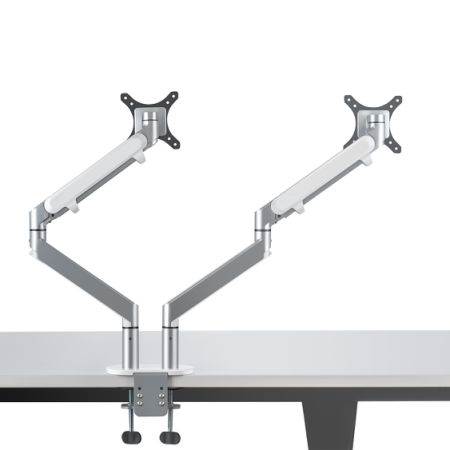 Viozon Gas Spring Desk Aluminum Dual Arm Mount Monitor Stand For Lcd Led Computer