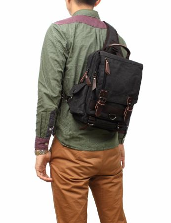 Mygreen Sling Canvas Cross Body 13-inch Laptop Messenger Bag Shoulder Backpack Black Single Shoulder Strap