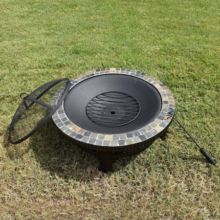 New Fire Pit w/Cover Outdoor Patio Fireplace Steel Firepit Backyard BBQ Heater