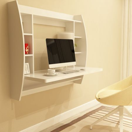 wall mounted office. Edencomer FSC Certified Wall Mounted Floating Desk Home Office Computer With Storage Shelves, White
