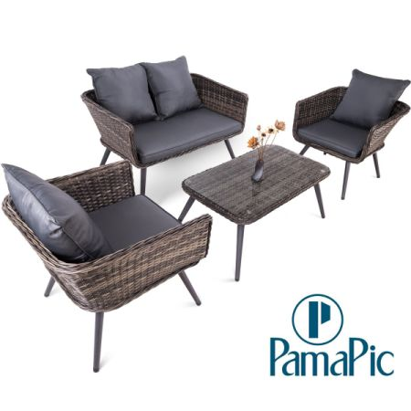 Shop for 4 PCS Rattan Patio Furniture Set, PamaPic Indoor-Outdoor ...