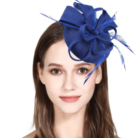 Fascinator Feather Fascinators for Women Pillbox Hat for Wedding Party  Derby Royal Banquet - Royal Blue 1d764a16130