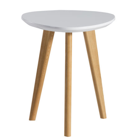 Lscing Modern Glossy Finish End Table Mdf Top With Wood Legs White