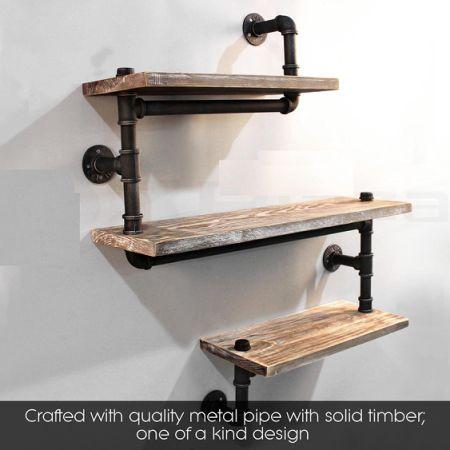 shop for industrial pipe shelving bookshelf rustic modern wood ladder pipe wall shelf 3 tiers. Black Bedroom Furniture Sets. Home Design Ideas