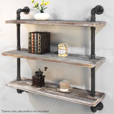 3 Level Rustic Diy Pipe Shelf Storage Wall Mounted Vintage Book 36 Inch