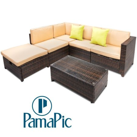 Pamapic 6pcs Outdoor Patio Furniture Set Rattan Wicker Sofa Sectional Garden Cushioned Seat With