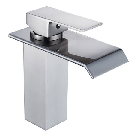 Flg Single Handle Waterfall Bathroom Vanity Sink Faucet Brushed Nickel