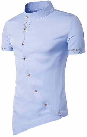 Shop for whatlees mens short sleeve extra long embroidery for Mens dress shirt monogram location
