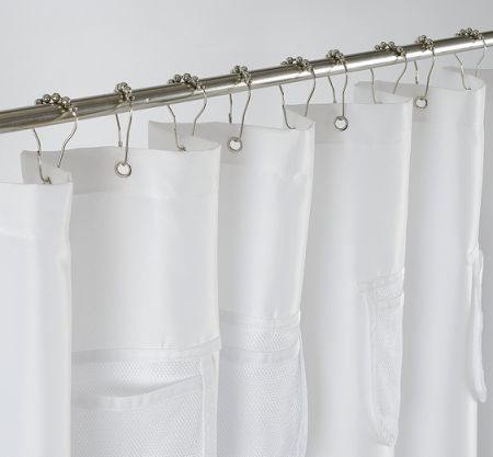 Water Proof Mildew Resistant Fabric Shower Curtain Liner With Handy Mesh Pockets