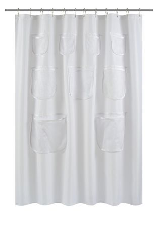Water Repellent Mildew Resistant Fabric Shower Curtain Liner With Mesh Pockets 70X72 White