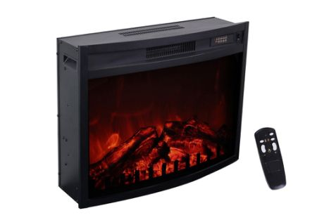 3G Plus Electric Fireplace Insert Heater Carbon Log Fuel Effect Adjustable  Flame Brightness W/Remote