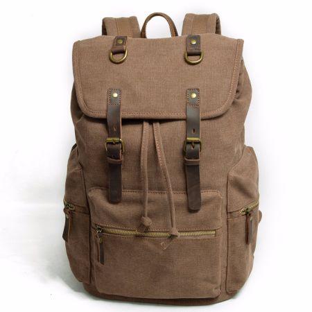 Redswan Canvas Vintage Backpack Leather Casual Bookbag Men Rucksack