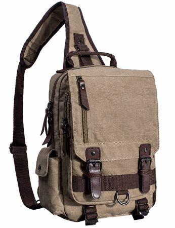 Mygreen Sling Canvas Cross Body 13 Inch Laptop Messenger Bag Shoulder Backpack Khaki Single