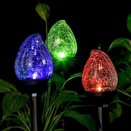 GIGALUMI Solar Lights Outdoor, Cracked Glass Flame Shaped Dual LED Garden  Lights, Landscape/