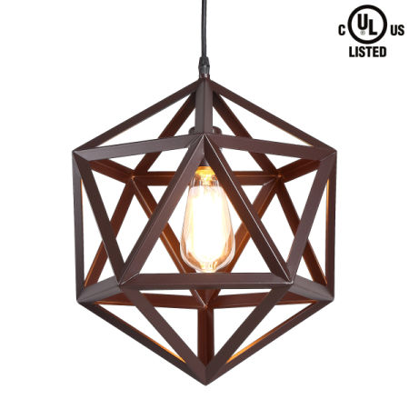 Shop for crealite industrial 1 light large brown wrought iron crealite industrial 1 light large brown wrought iron pendant lights with metal cage shade in matte aloadofball Choice Image