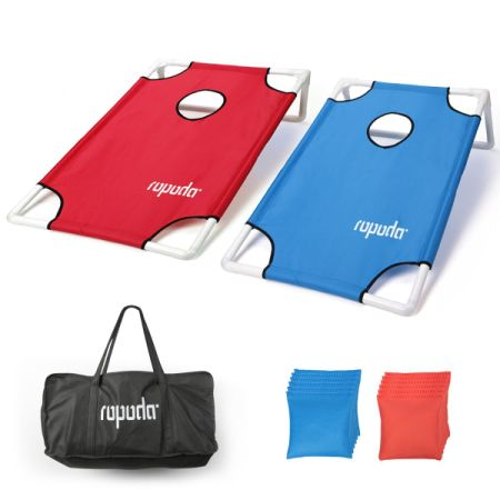 ROPODA Portable Assemble PVC Framed CornHole Game Set With 8 Bean Bags And  Carrying Case