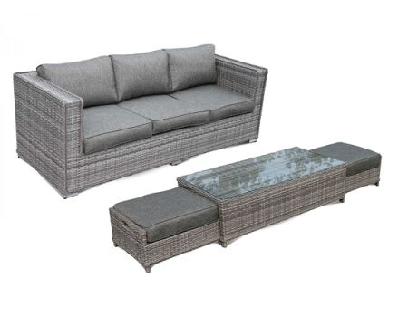 Patio Outdoor Sofa Furniture Couch Modular 4pcs Sofa Set, Cushion Gray  No  Assembly With