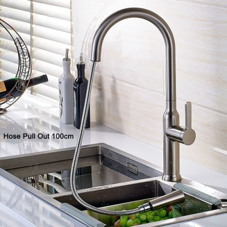 Shop for FLG Commerical Single Lever Pull Out Kitchen Sink Faucet ...