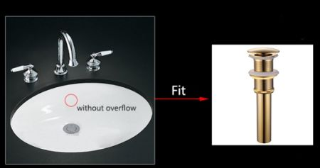 FLG Bathroom Vessel Sink Pop Up Drain Without Overflow, Chrome