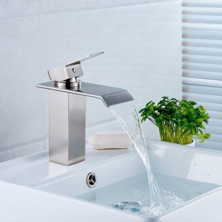 FLG Single Handle Waterfall Bathroom Vanity Sink Faucet, Brushed Nickel
