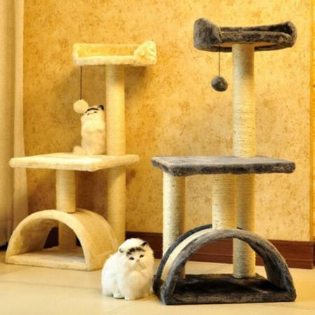 "Roypet 32"" Cat Tree With Scratching Pad and Perch, Grey"