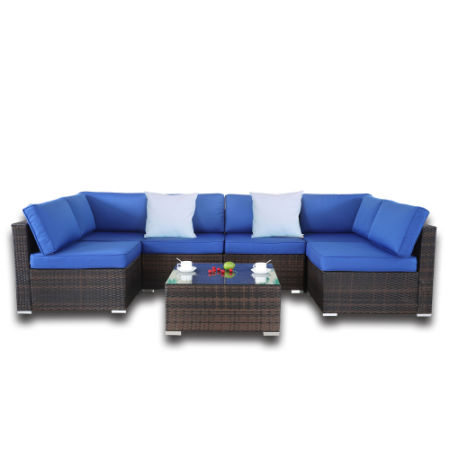 Patio Rattan Furniture 7pcs Garden Sectional Sofa Outdoor Wicker Couch  Brown Rattan Royal Blue Cushion