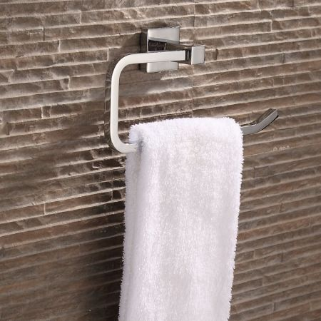 Modern Square Wall Hung Bathroom Towel Ring With Chrome Finish