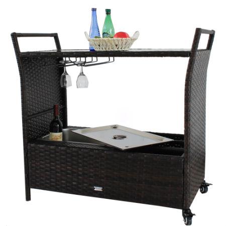 Incroyable Patio Bar Cart Outdoor Indoor PE Rattan Serving Carts 2 Wheels Caster PE  Wicker Bar Cart